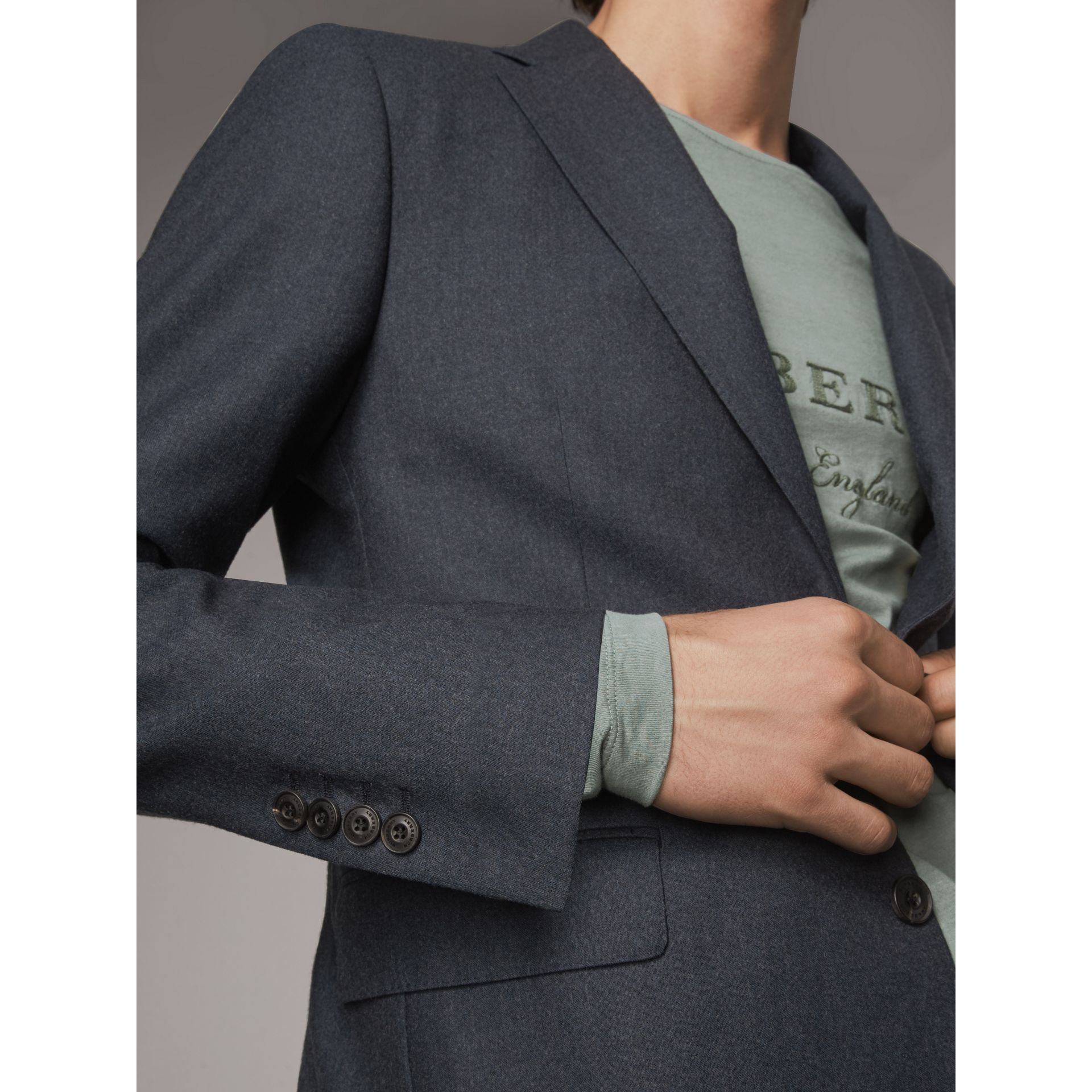 Soho Fit Wool Flannel Suit in Petrol Blue Melange - Men | Burberry Australia - gallery image 5
