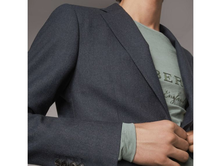 Soho Fit Wool Flannel Suit in Petrol Blue Melange - Men | Burberry Australia - cell image 4