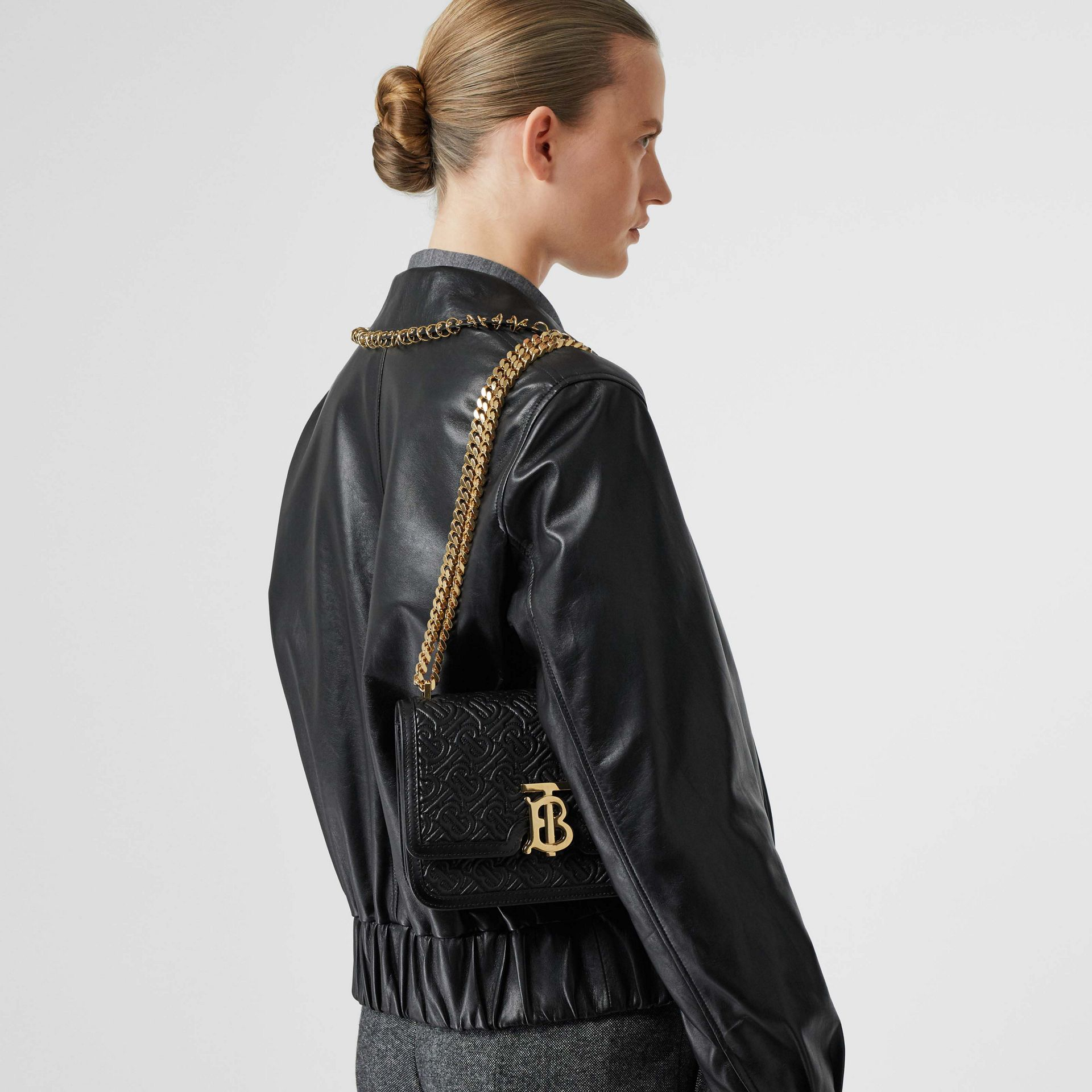 Small Quilted Monogram Lambskin TB Bag in Black - Women | Burberry - gallery image 2