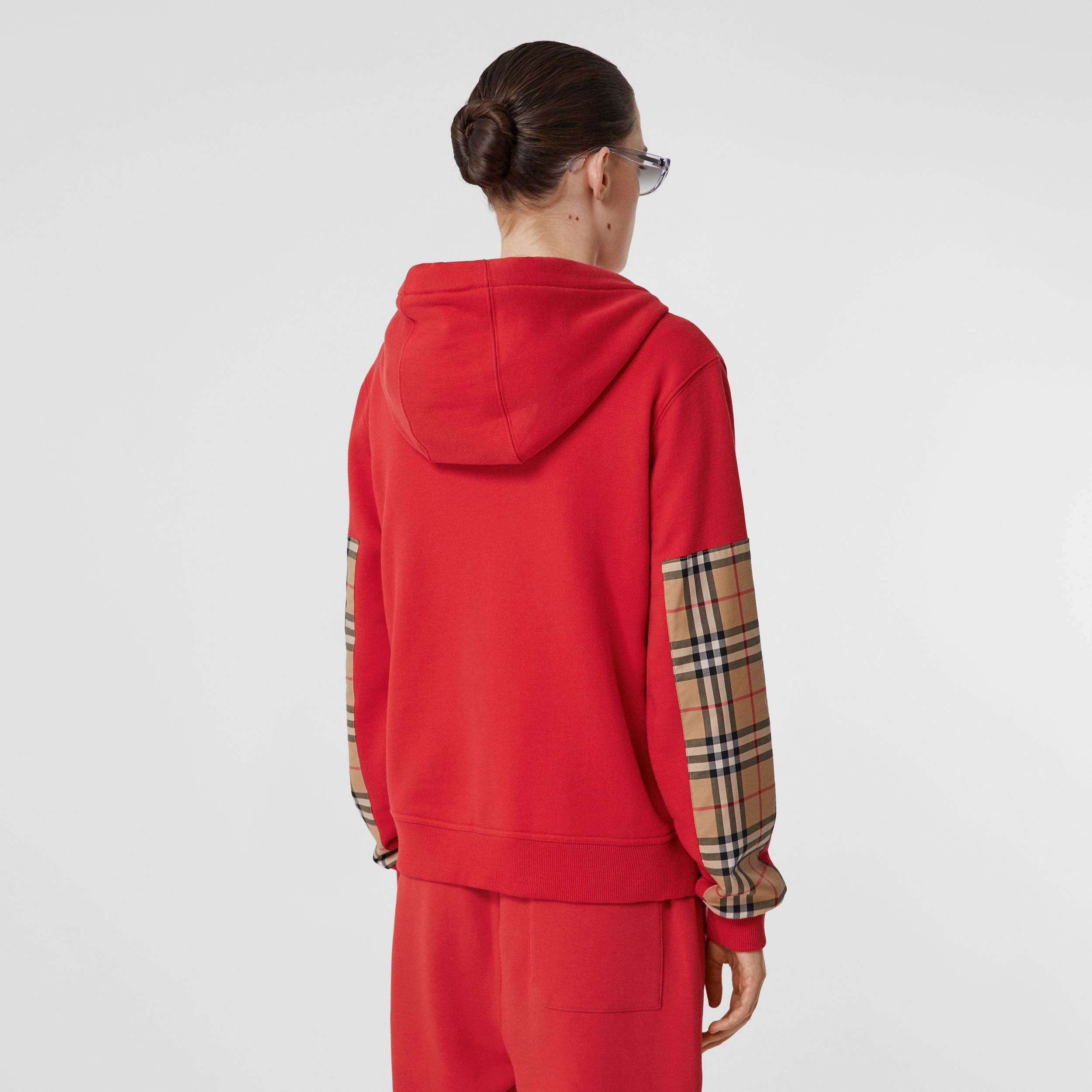 Vintage Check Panel Cotton Oversized Hooded Top in Bright Red - Women | Burberry - 3