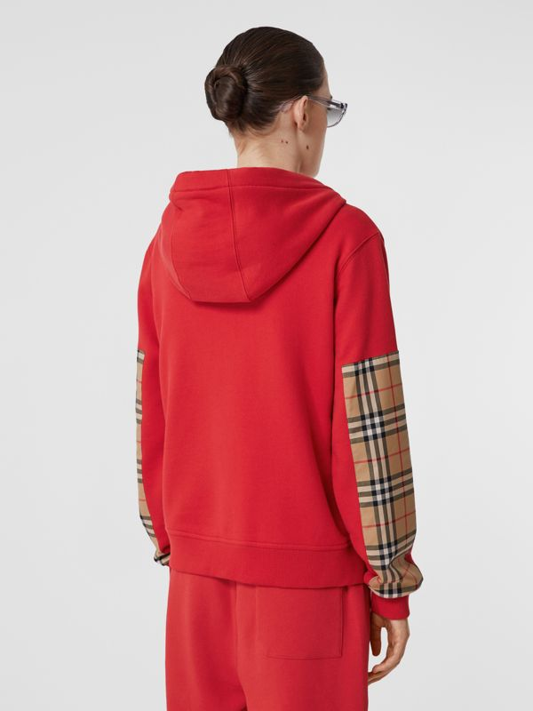Vintage Check Panel Cotton Oversized Hooded Top in Bright Red - Women | Burberry Hong Kong S.A.R - cell image 2