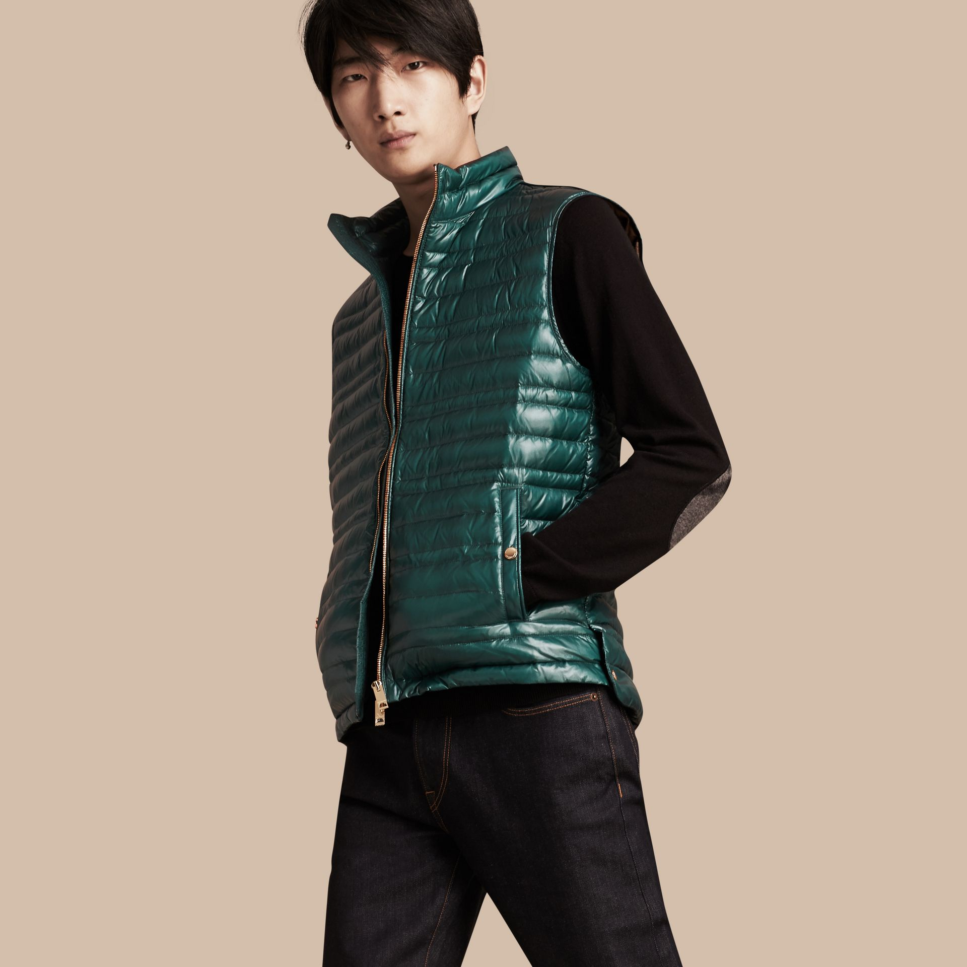 Pine green Lightweight Down-filled Gilet Pine Green - gallery image 1
