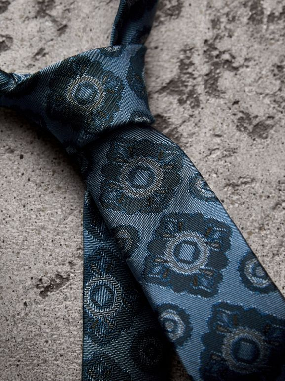 Slim Cut Tiled Floral Silk Jacquard Tie in Canvas Blue - Men | Burberry United Kingdom - cell image 1