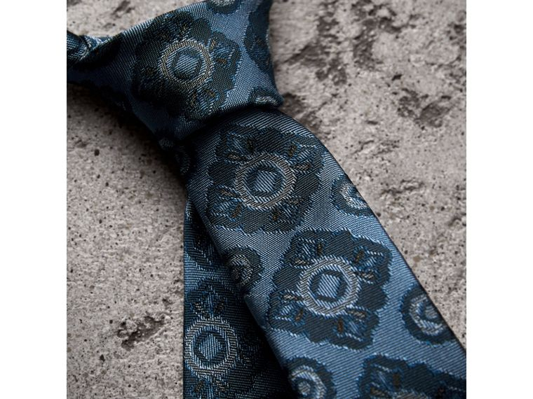 Slim Cut Tiled Floral Silk Jacquard Tie in Canvas Blue - Men | Burberry Canada - cell image 1