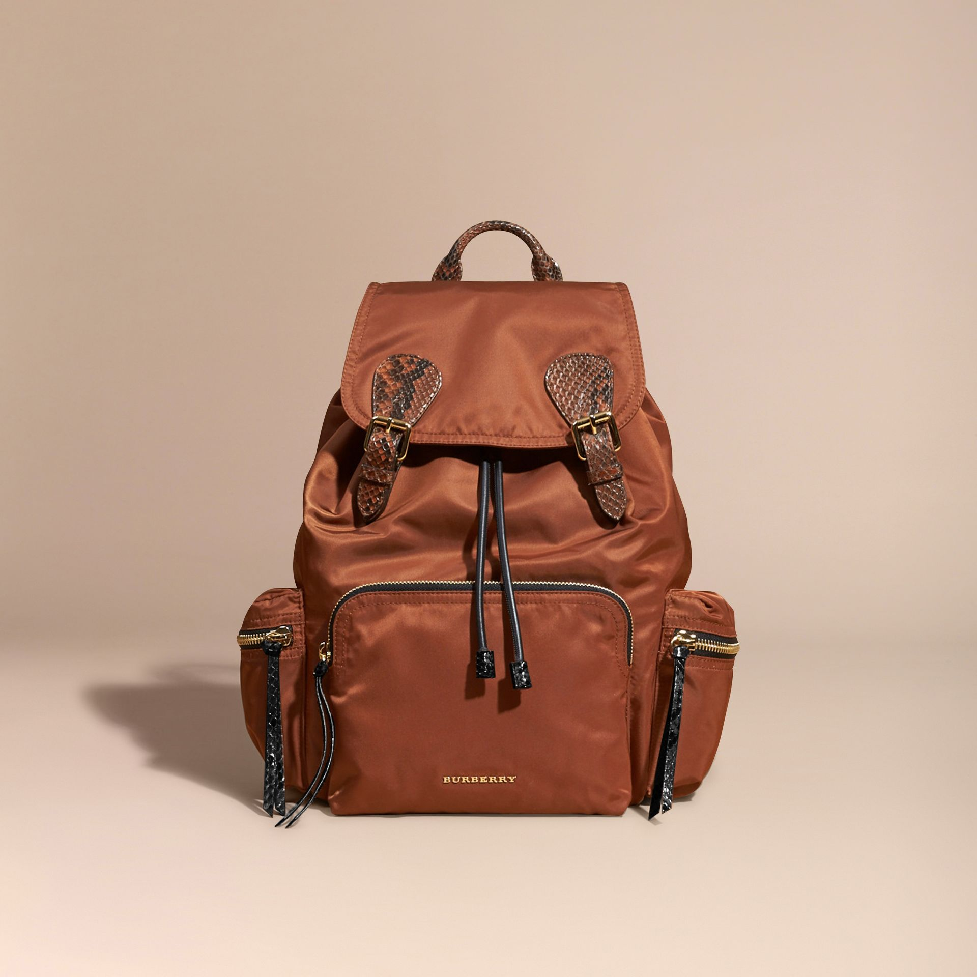 Redwood/tan The Large Rucksack in Technical Nylon and Snakeskin Redwood/tan - gallery image 9
