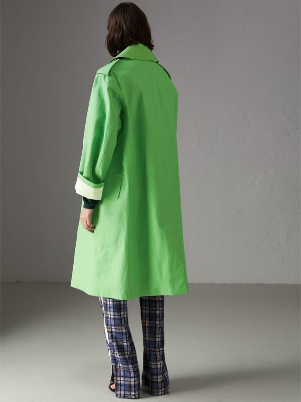 Bonded Cotton Double-breasted Coat in Bright Pigment Green - Women | Burberry - cell image 2