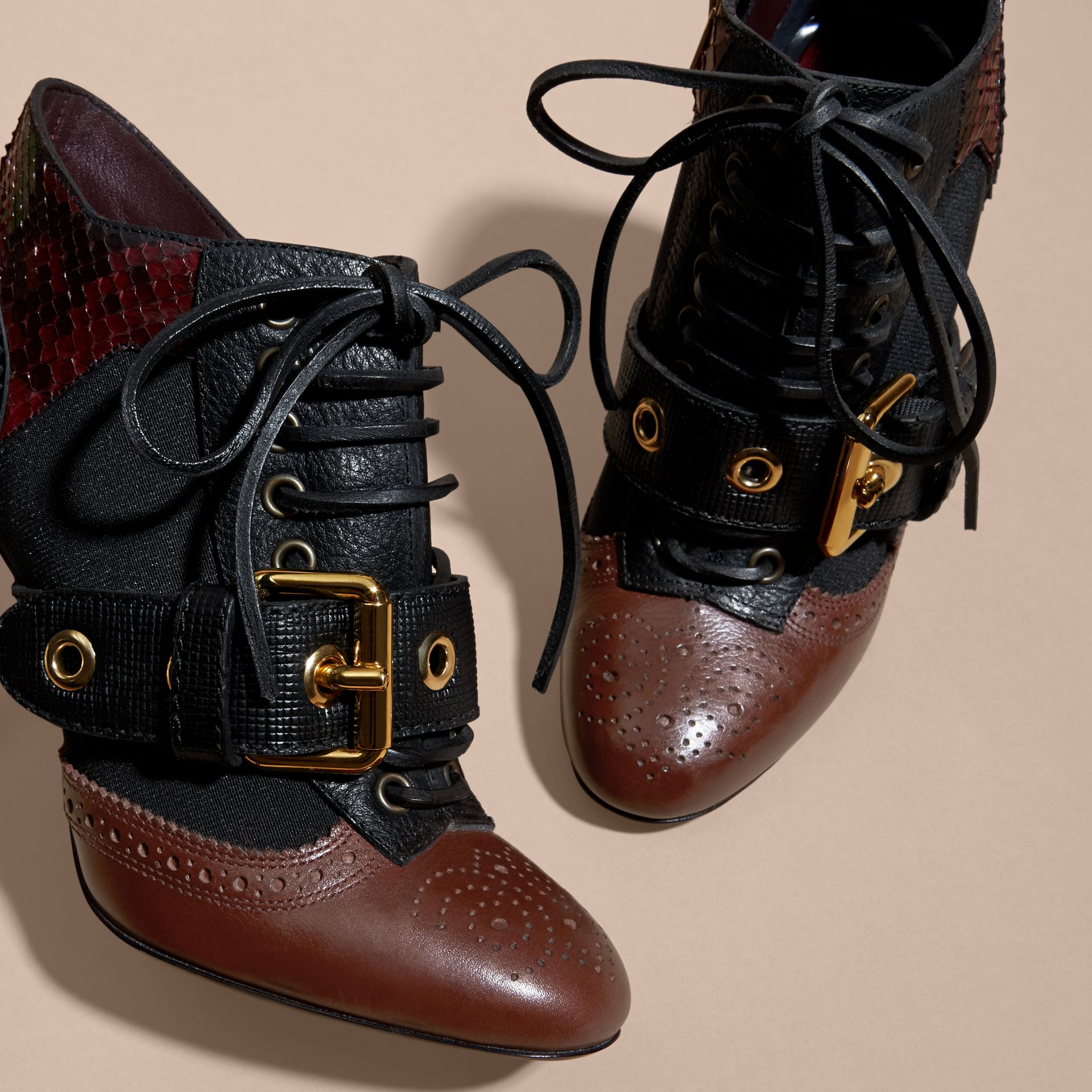 Bordeaux Buckle Detail Leather and Snakeskin Ankle Boots Bordeaux - gallery image 2