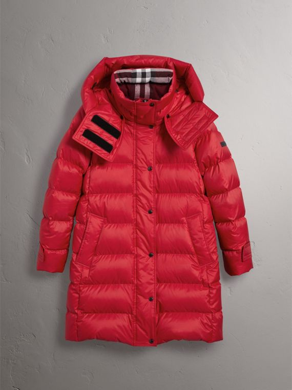 Down-filled Puffer Coat With Detachable Hood in Parade Red