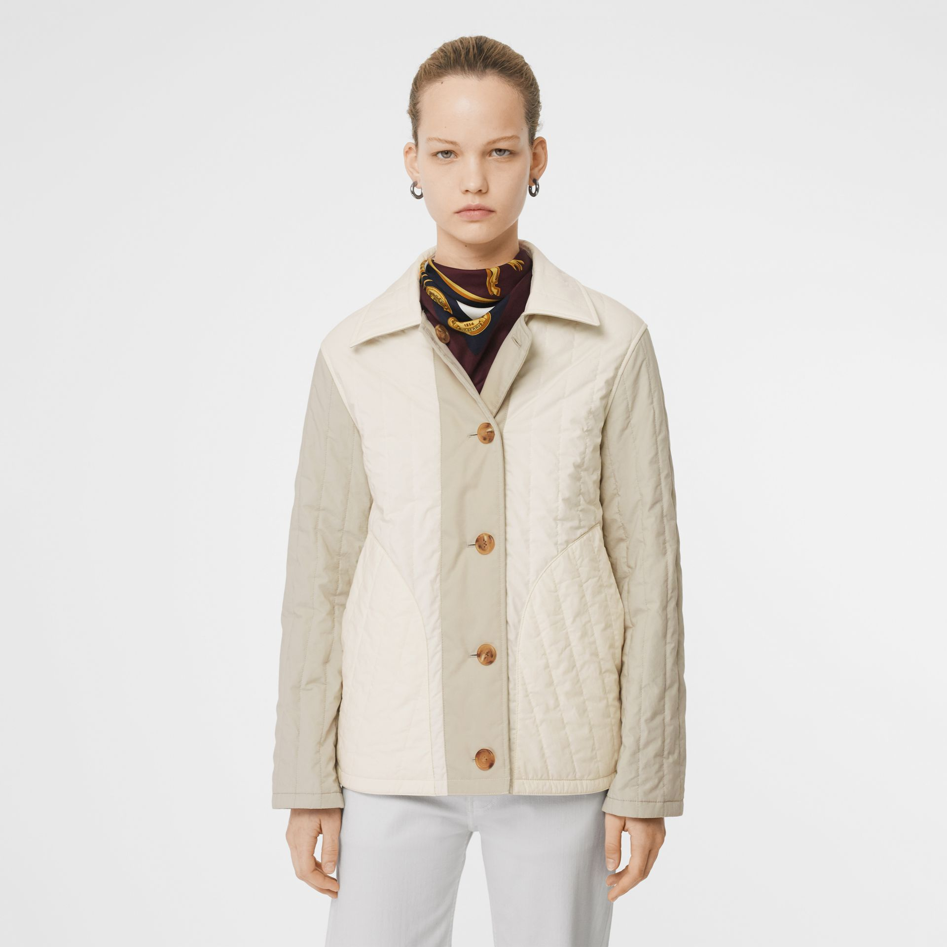Reversible Quilted Cotton Jacket in Natural White - Women | Burberry - gallery image 6