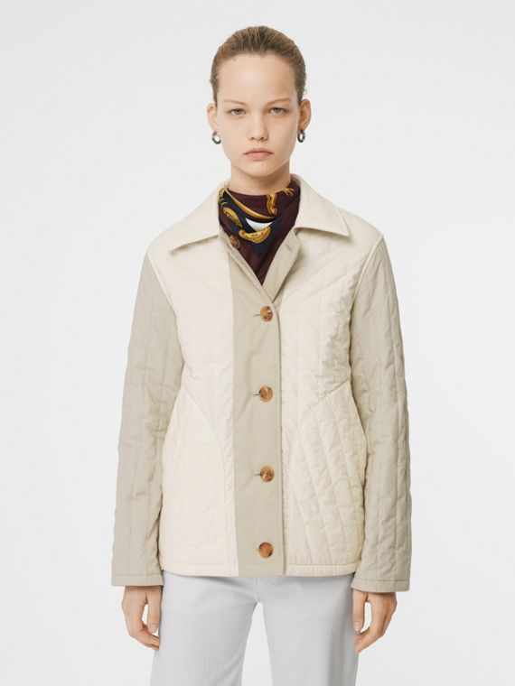 Reversible Quilted Cotton Jacket in Natural White
