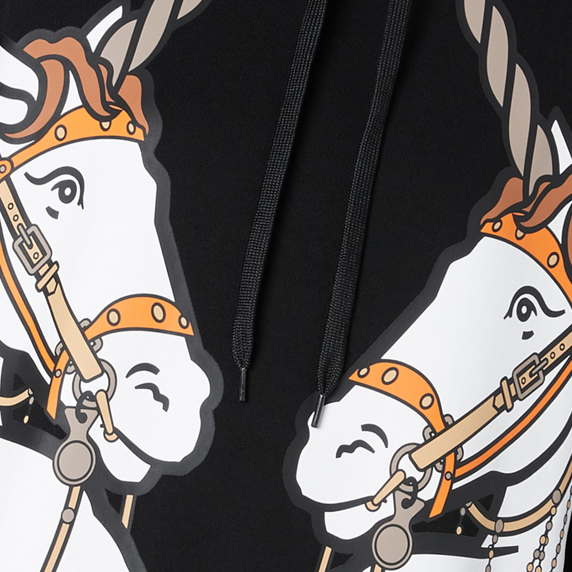 Unicorn Print Cotton Oversized Hoodie in Black - Women | Burberry Hong Kong S.A.R - gallery image 6