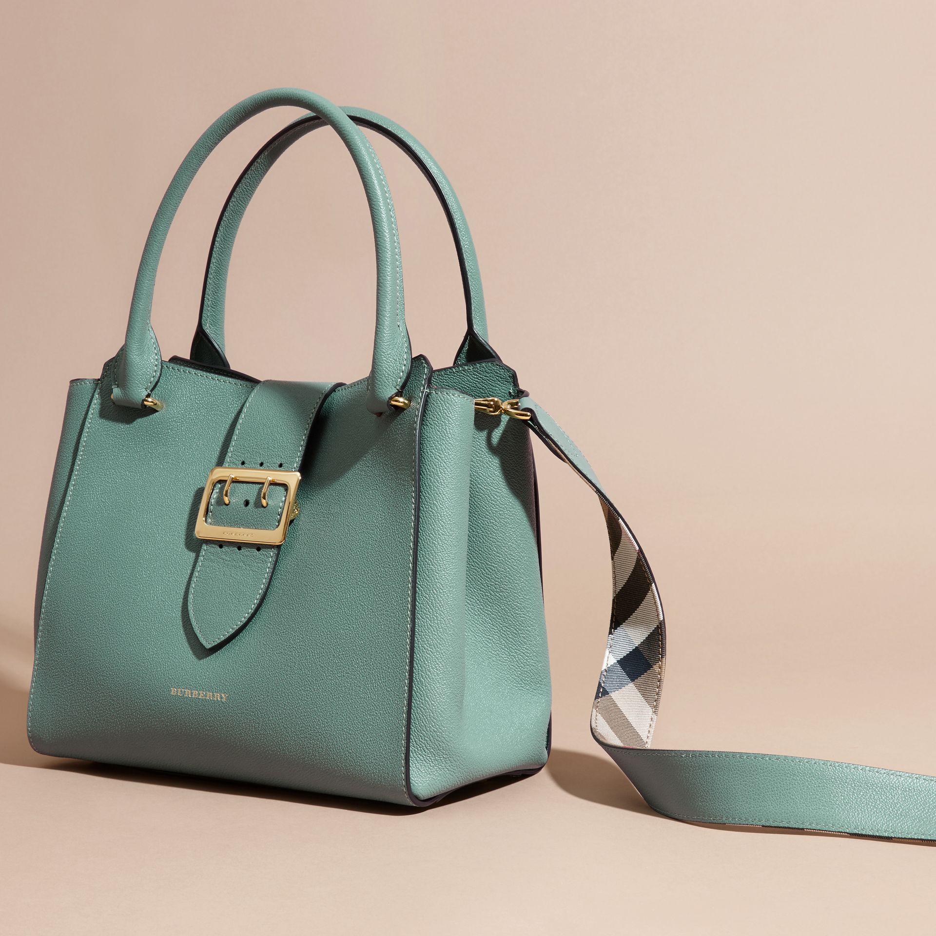 The Medium Buckle Tote in Grainy Leather in Eucalyptus Green - gallery image 7