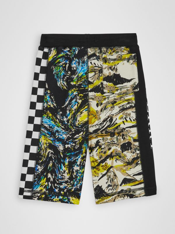 Graphic Print Cotton Drawcord Shorts in Multicolour | Burberry - cell image 3
