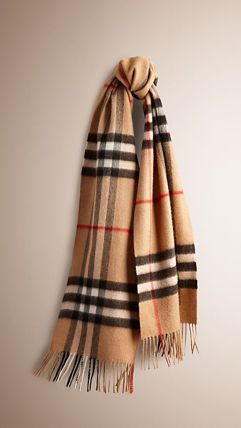 Camel check The Classic Cashmere Scarf in Heritage Check Camel -  1