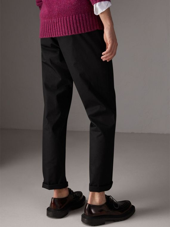 Cotton Twill Chinos in Black - Men | Burberry - cell image 2