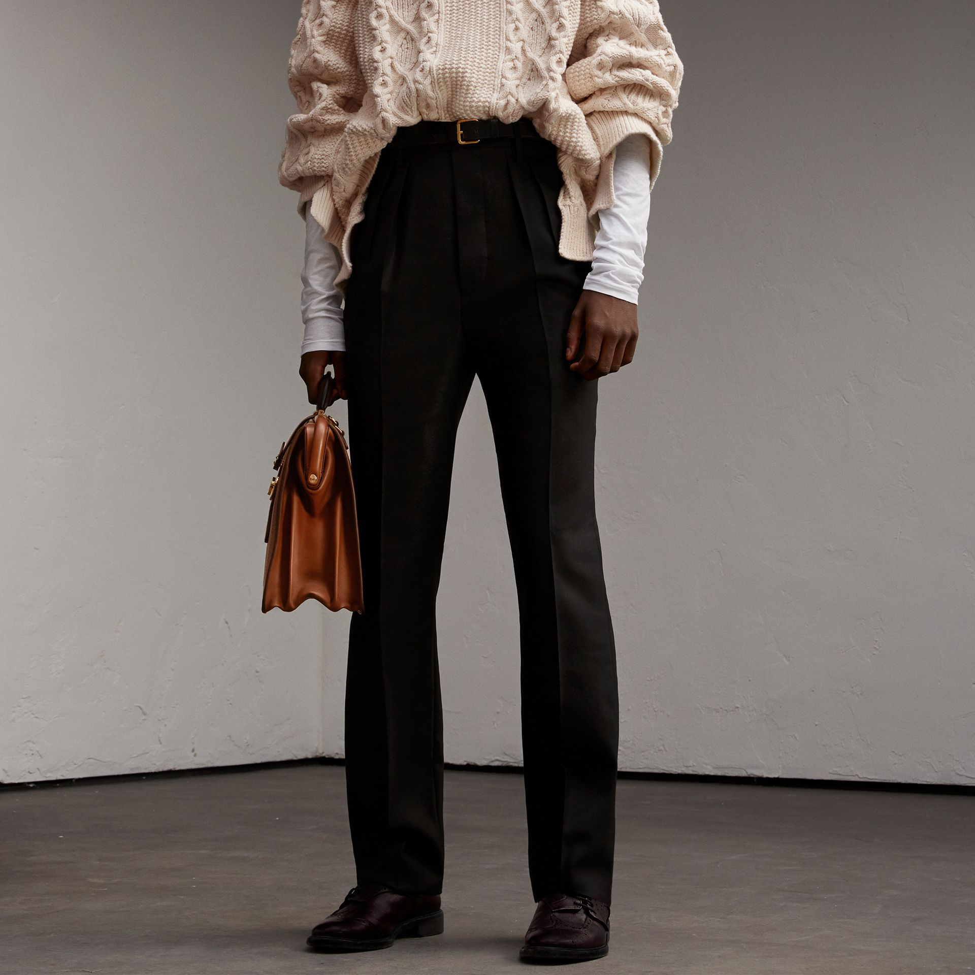 English Wool Mohair High-waist Tailored Trousers in Black - Men | Burberry - gallery image 0