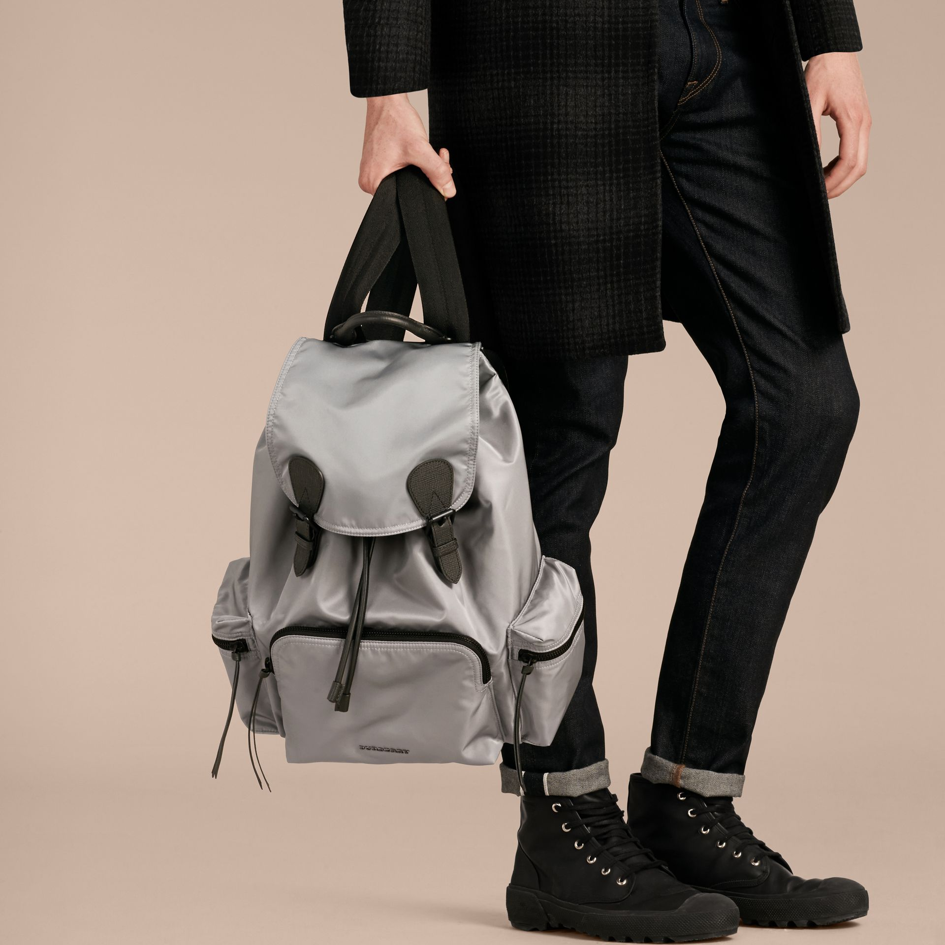 The Large Rucksack in Technical Nylon and Leather Thistle Grey - gallery image 3