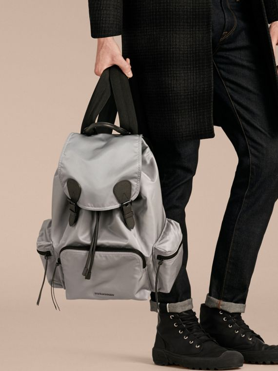 The Large Rucksack in Technical Nylon and Leather Thistle Grey - cell image 2