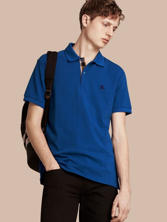 Check Placket Cotton Piqué Polo Shirt Cobalt Blue