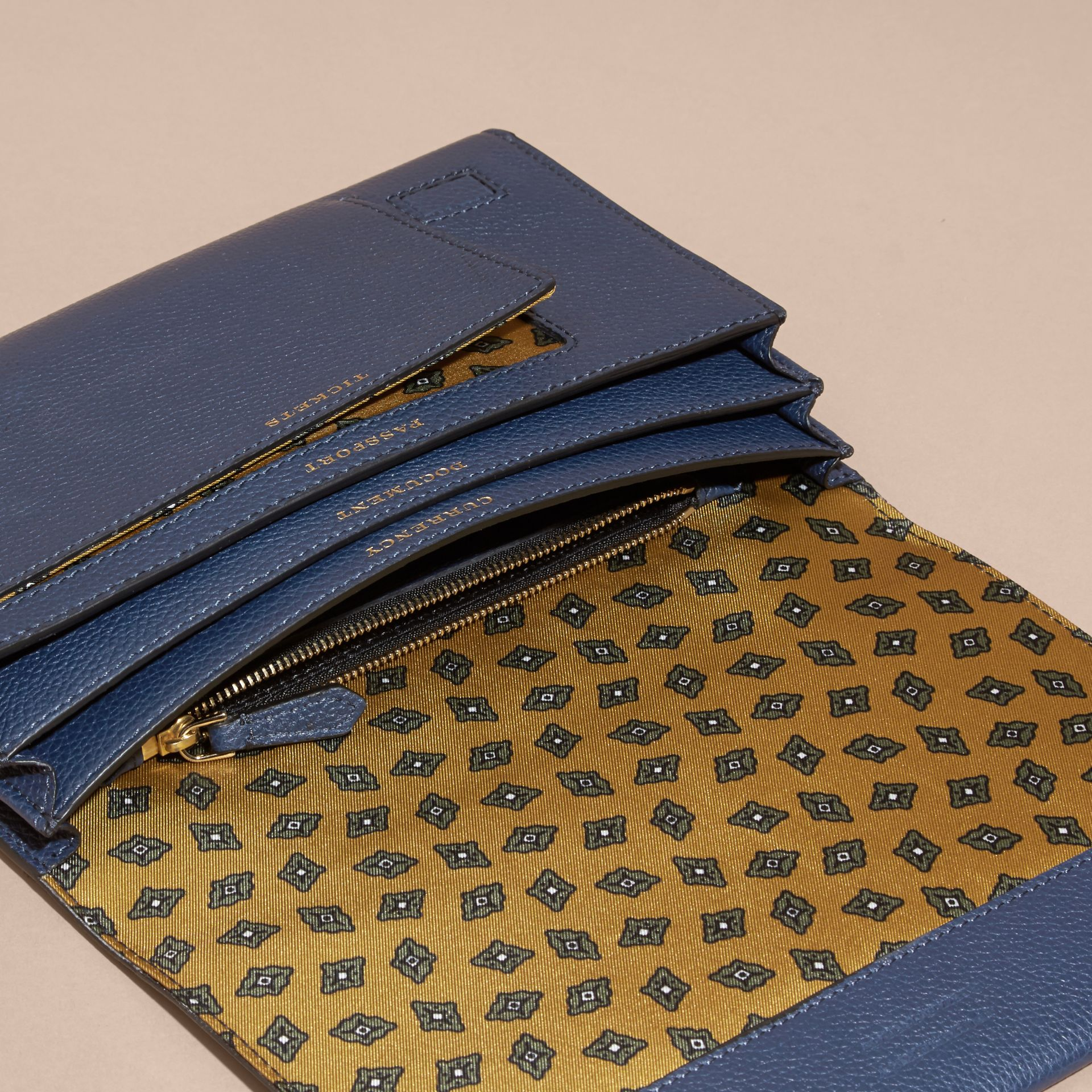 Bright navy Grainy Leather Travel Wallet Bright Navy - gallery image 5