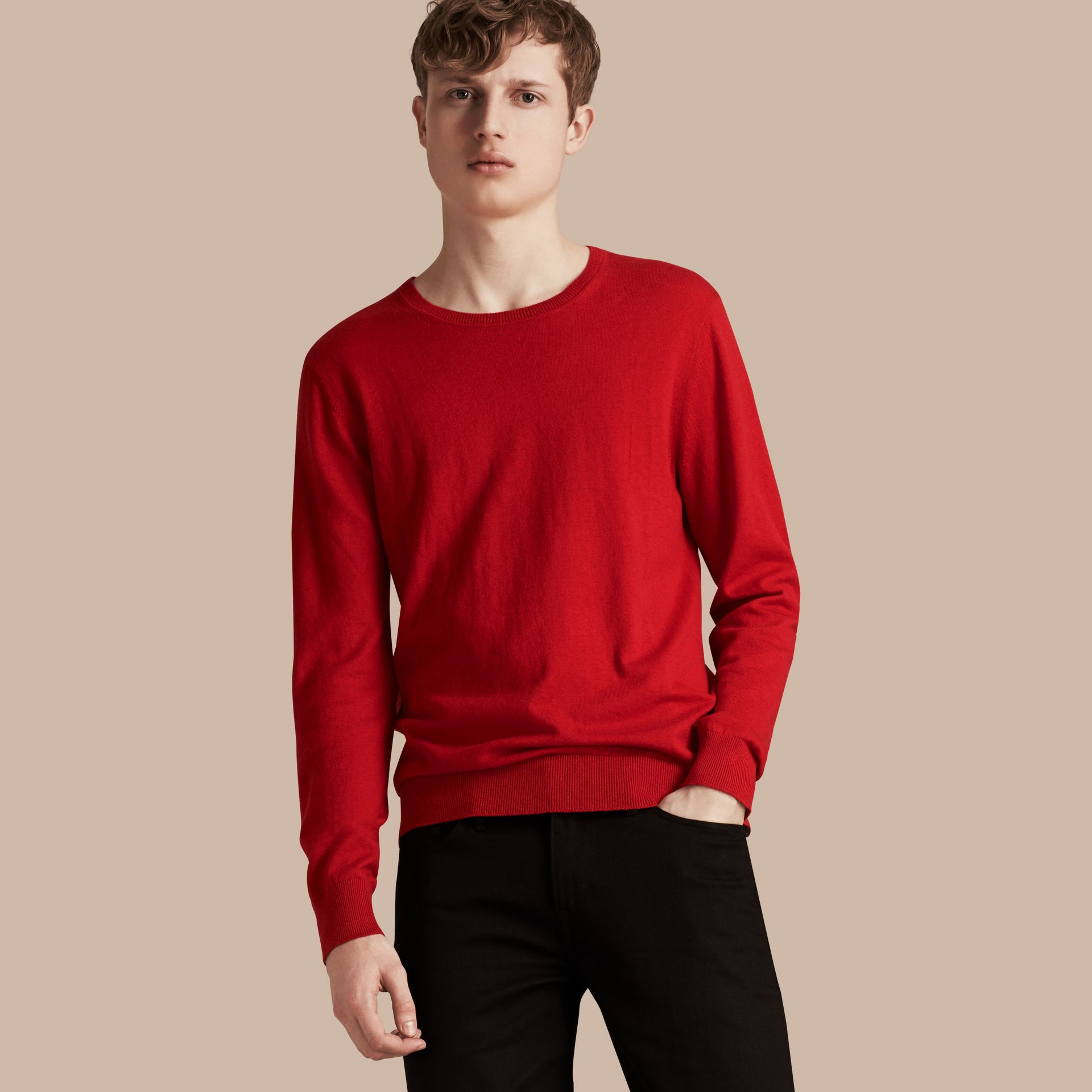 Check Trim Cashmere Cotton Sweater in Military Red - gallery image 6