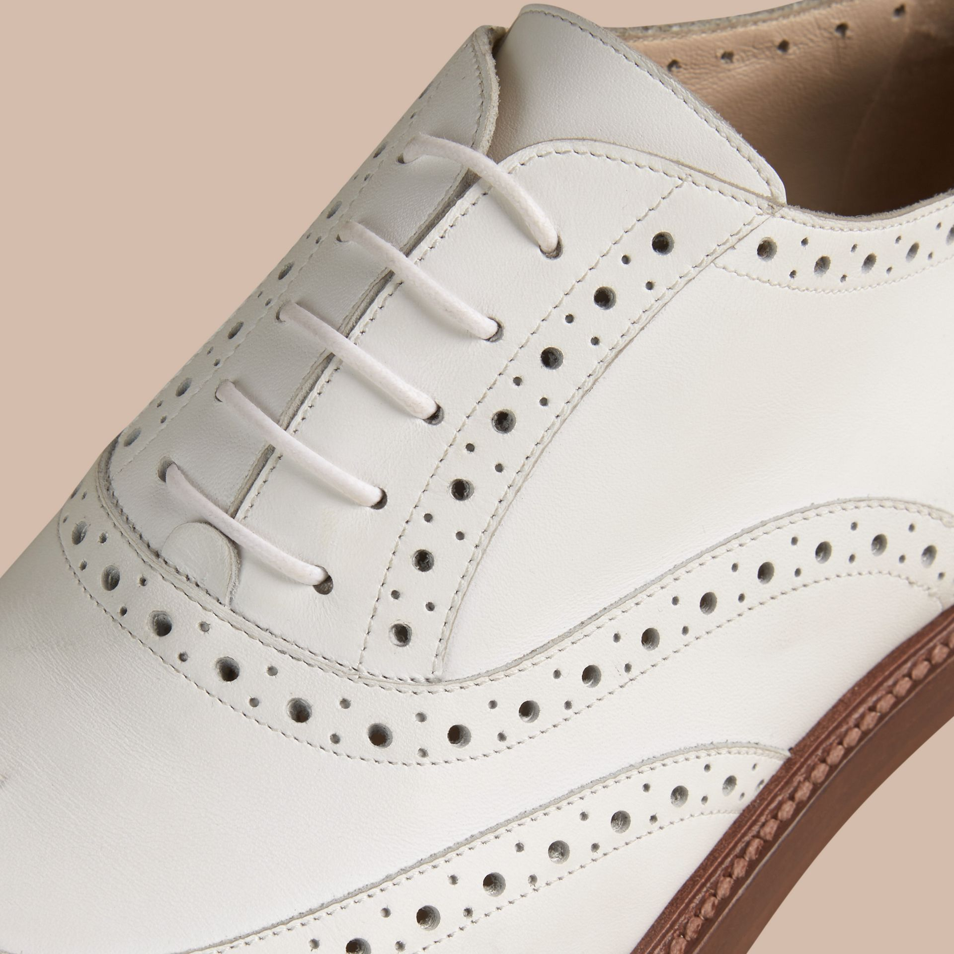Optic white Leather Wingtip Brogues - gallery image 2