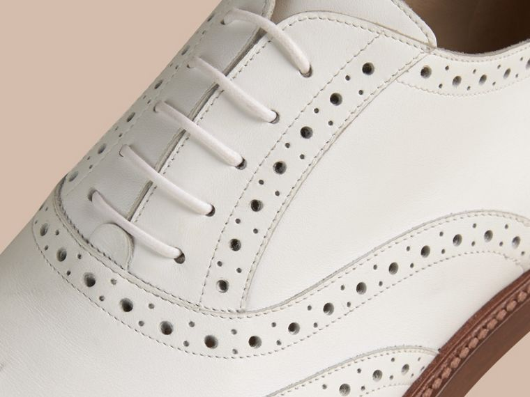 Optic white Leather Wingtip Brogues - cell image 1