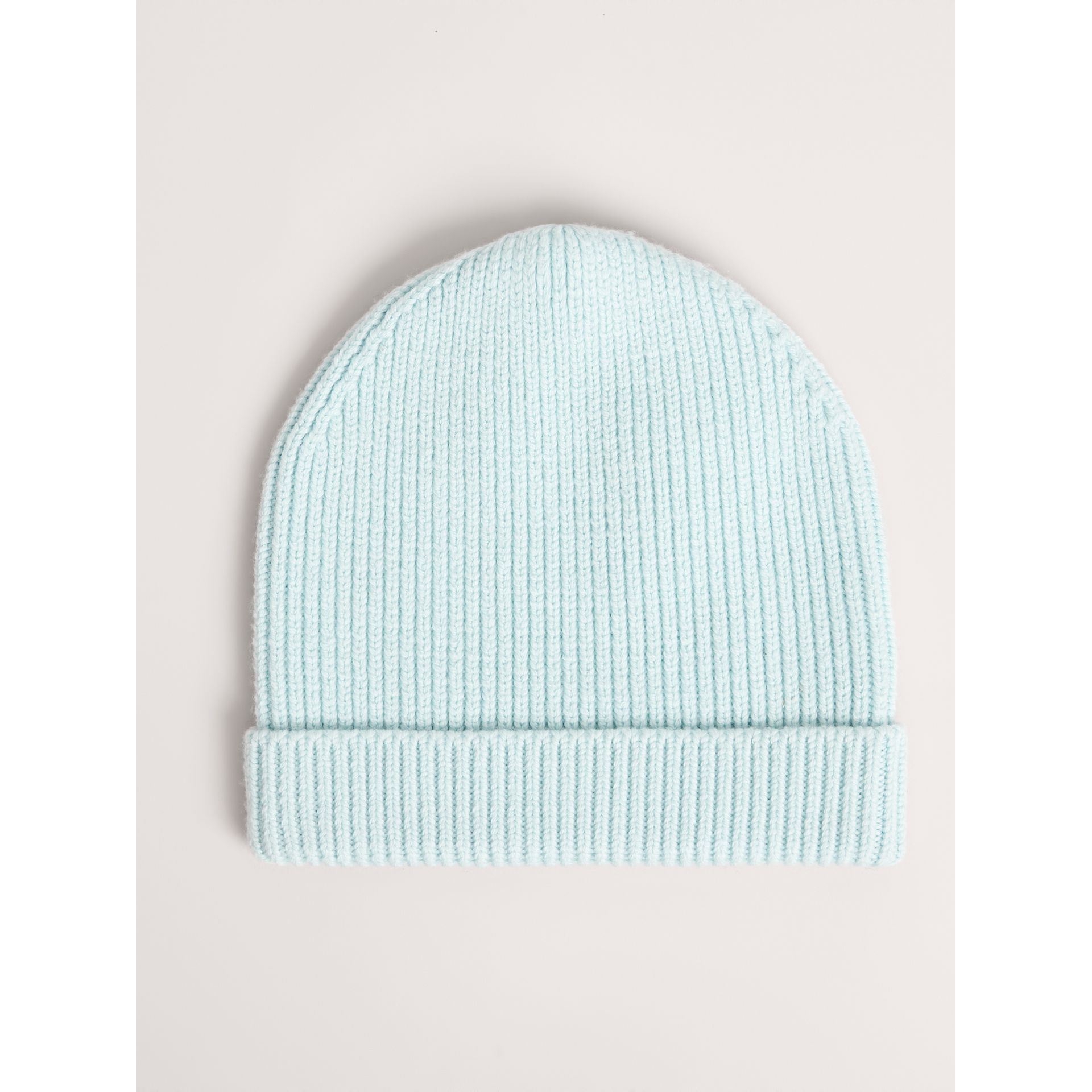 Patch Detail Merino Wool Beanie in Mint | Burberry United Kingdom - gallery image 3