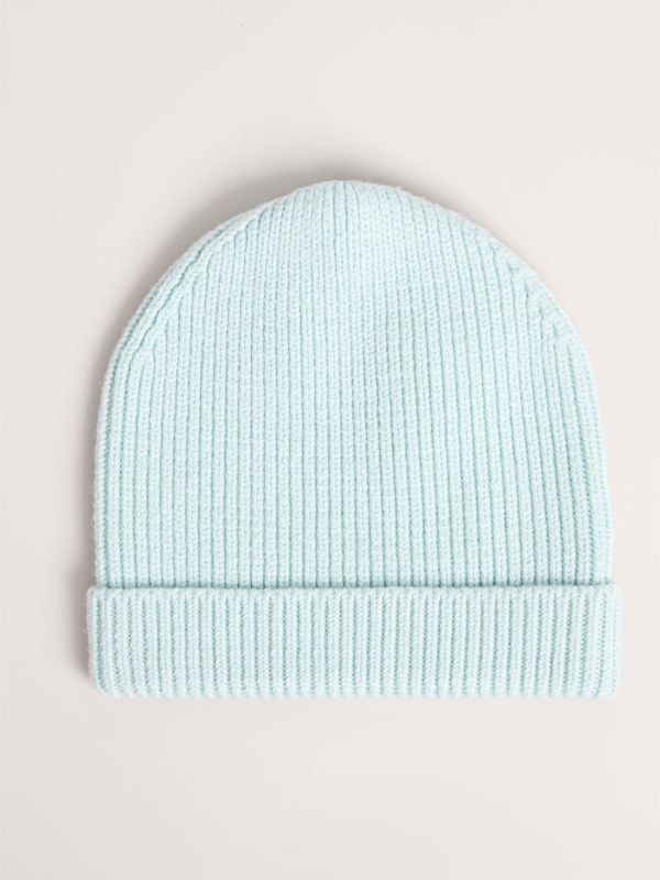 Patch Detail Merino Wool Beanie in Mint | Burberry - cell image 3