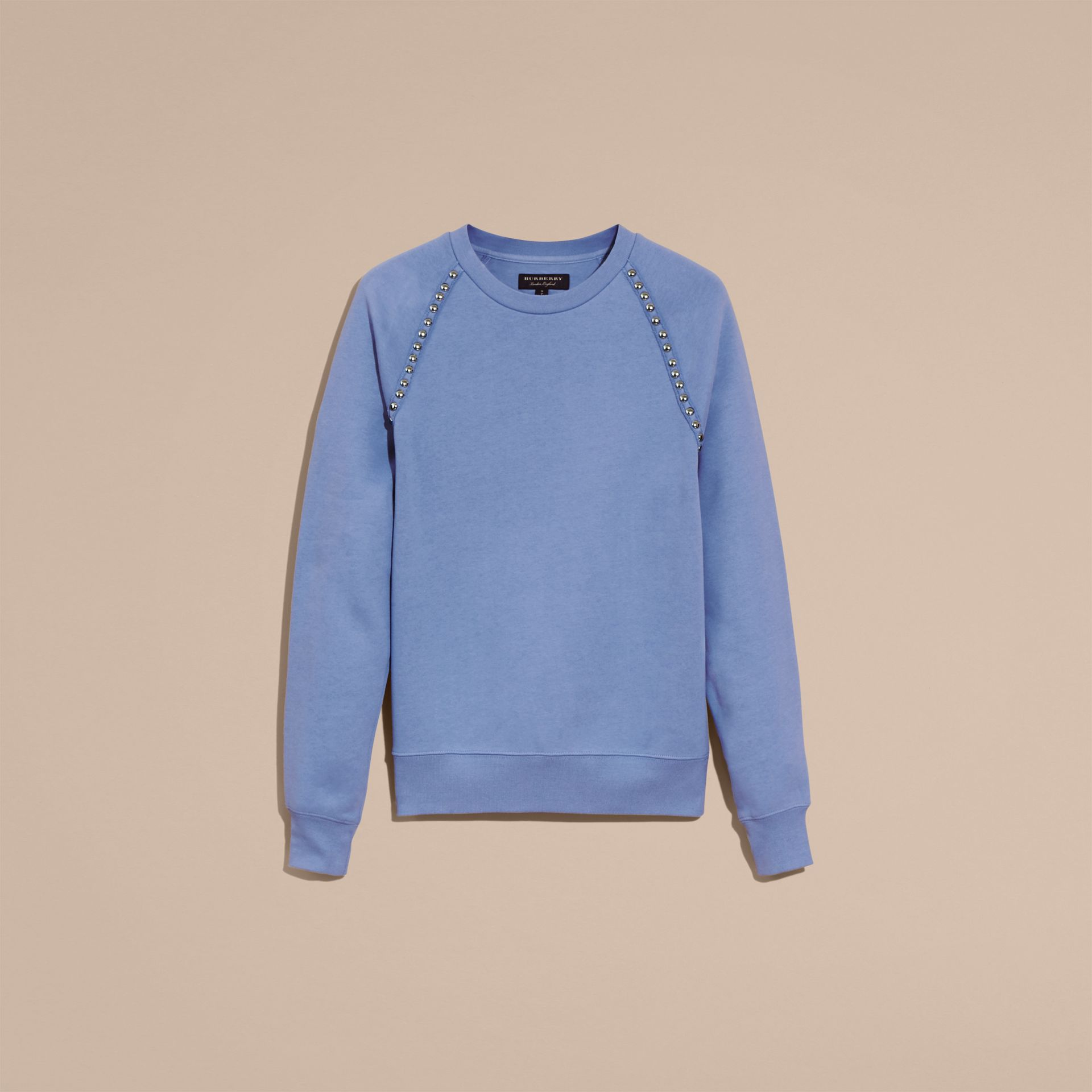 Light blue Stud Detail Cotton-blend Sweatshirt - gallery image 4