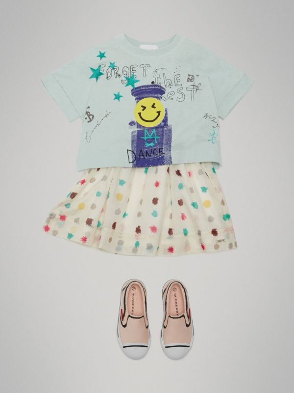 Smiley Face Print Cropped T-shirt in Pale Mint - Girl | Burberry Canada - cell image 2