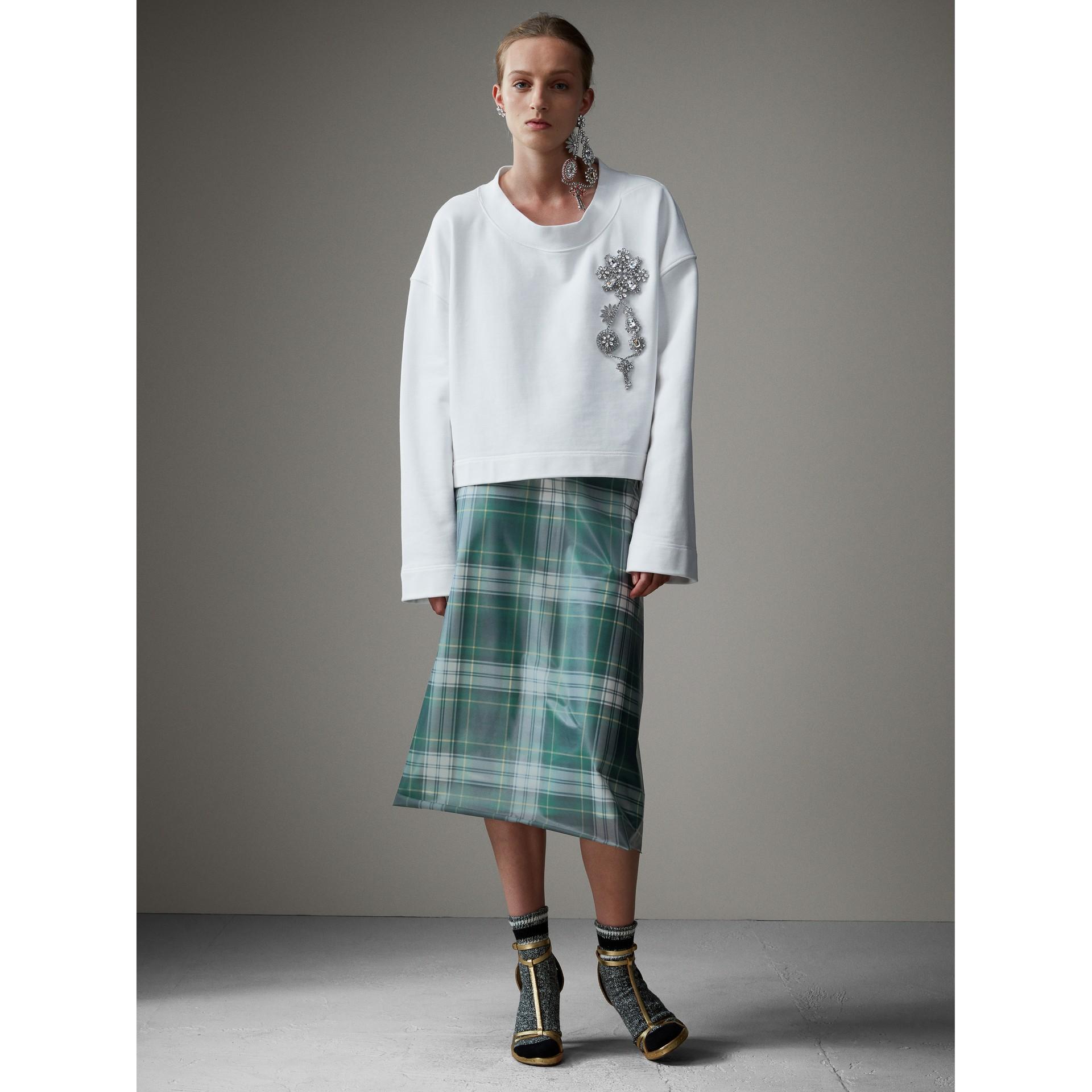 Kurzes Sweatshirt mit Kristallbrosche (Optic-weiss) - Damen | Burberry - Galerie-Bild 5