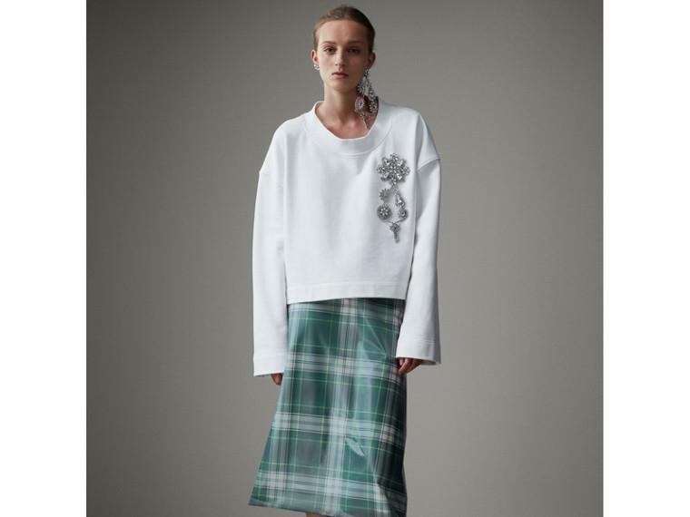 Kurzes Sweatshirt mit Kristallbrosche (Optic-weiss) - Damen | Burberry - cell image 4