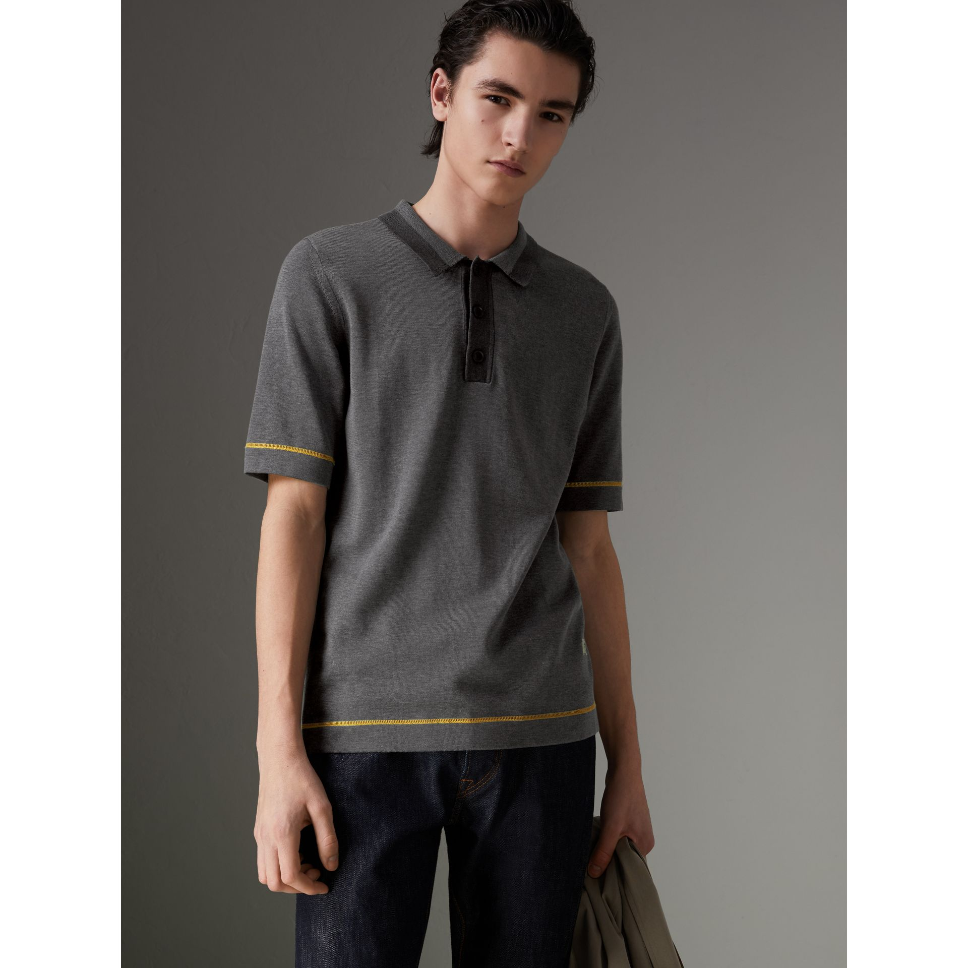 Tipped Cotton Jersey Polo Shirt in Mid Grey Melange - Men | Burberry - gallery image 0