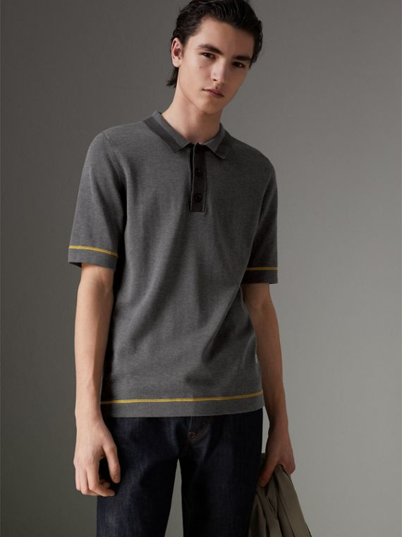 Tipped Cotton Jersey Polo Shirt in Mid Grey Melange