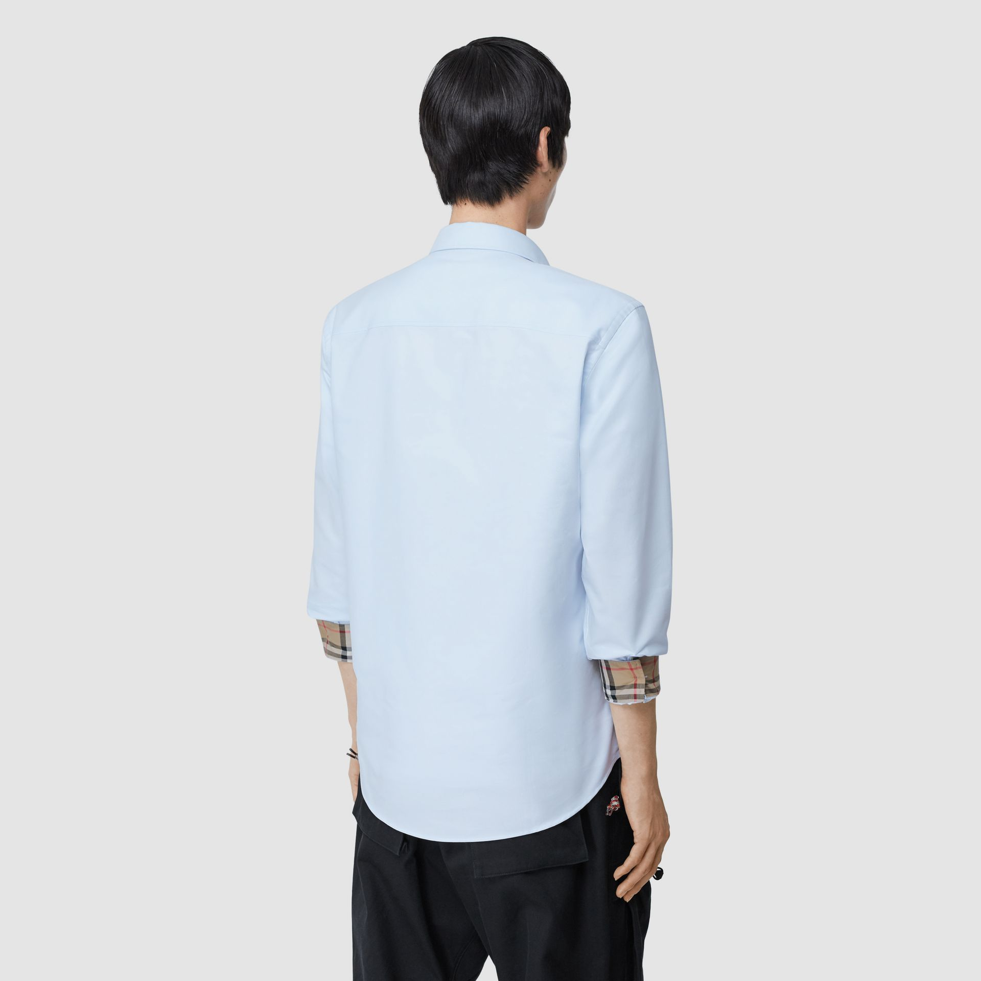 Monogram Motif Cotton Oxford Shirt in White - Men | Burberry - gallery image 2