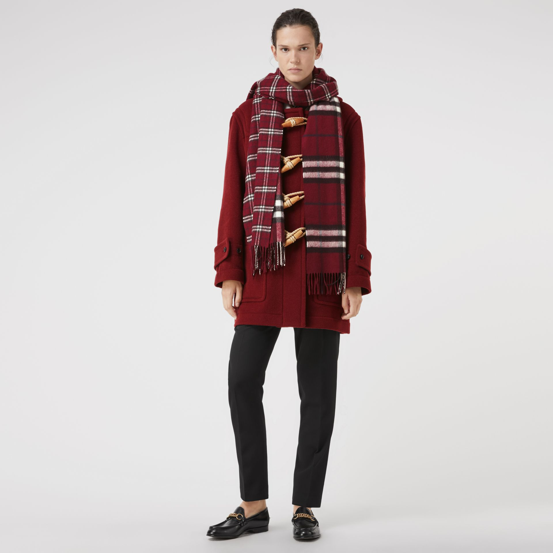 Gosha x Burberry Check Cashmere Double Scarf in Claret | Burberry - gallery image 2