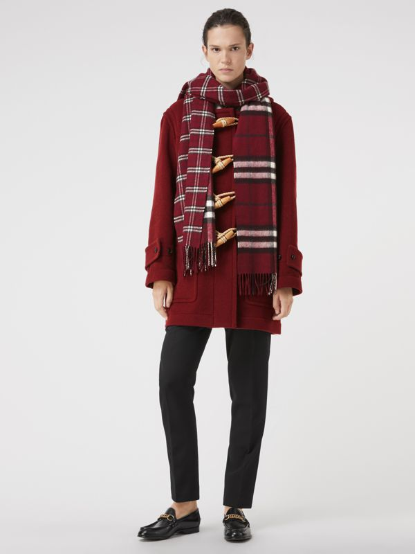 Gosha x Burberry Check Cashmere Double Scarf in Claret | Burberry - cell image 2