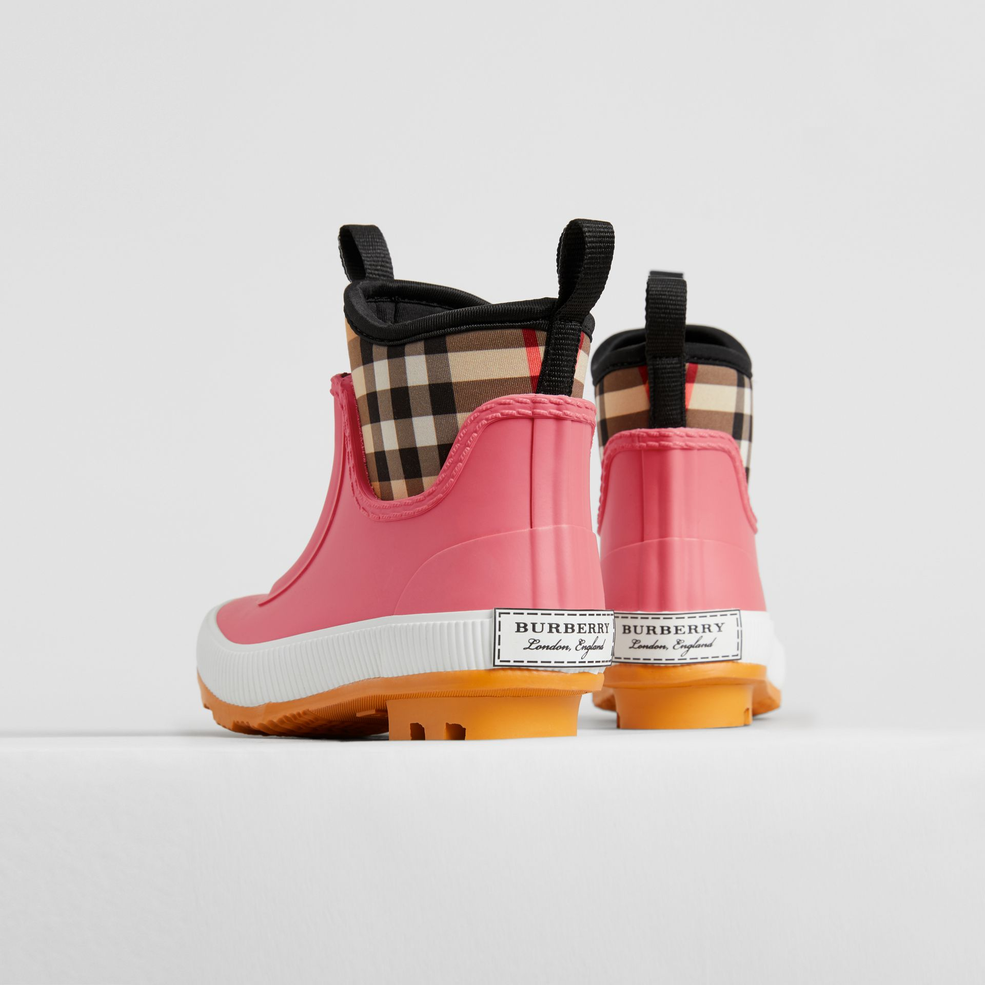 Vintage Check Neoprene and Rubber Rain Boots in Pink Azalea | Burberry United Kingdom - gallery image 2