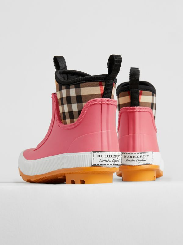 Vintage Check Neoprene and Rubber Rain Boots in Pink Azalea | Burberry - cell image 2