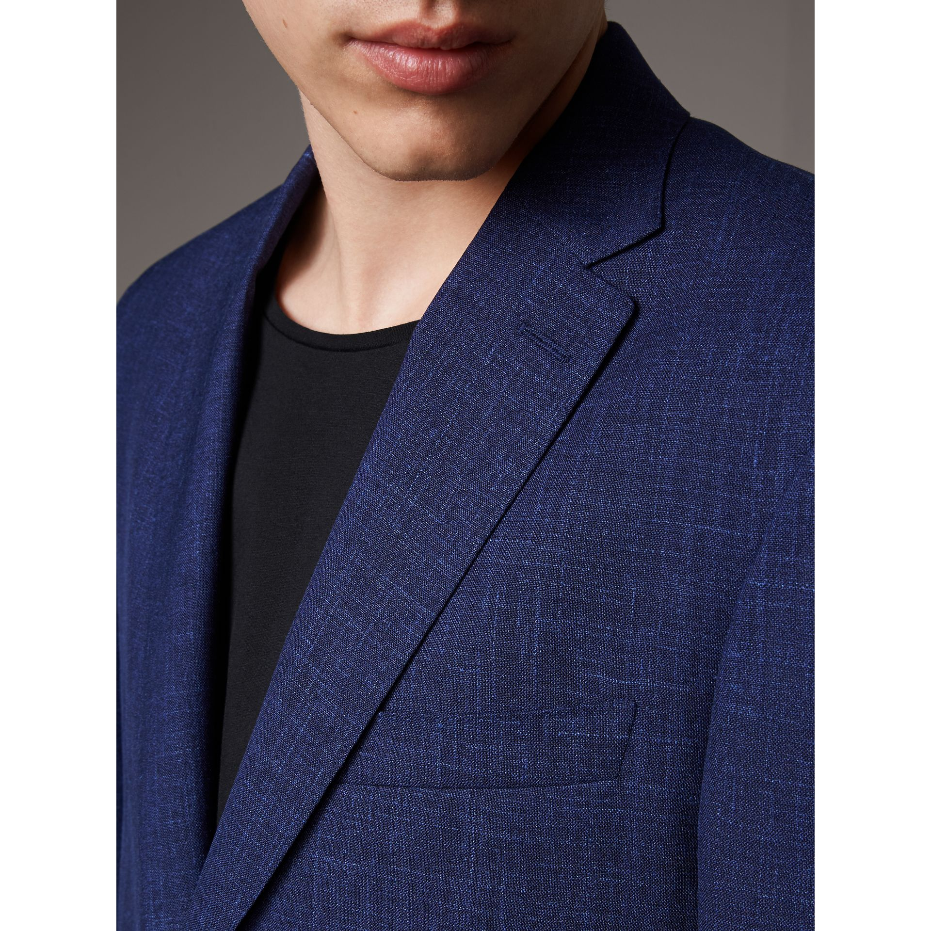 Modern Fit Wool Silk Linen Tailored Half-canvas Jacket in Steel Blue - Men | Burberry - gallery image 3
