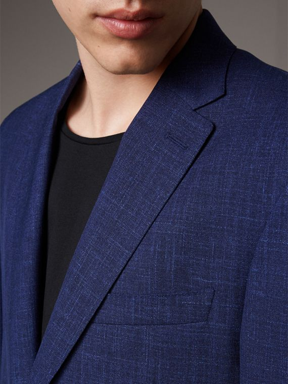 Modern Fit Wool Silk Linen Tailored Half-canvas Jacket in Steel Blue - Men | Burberry - cell image 2