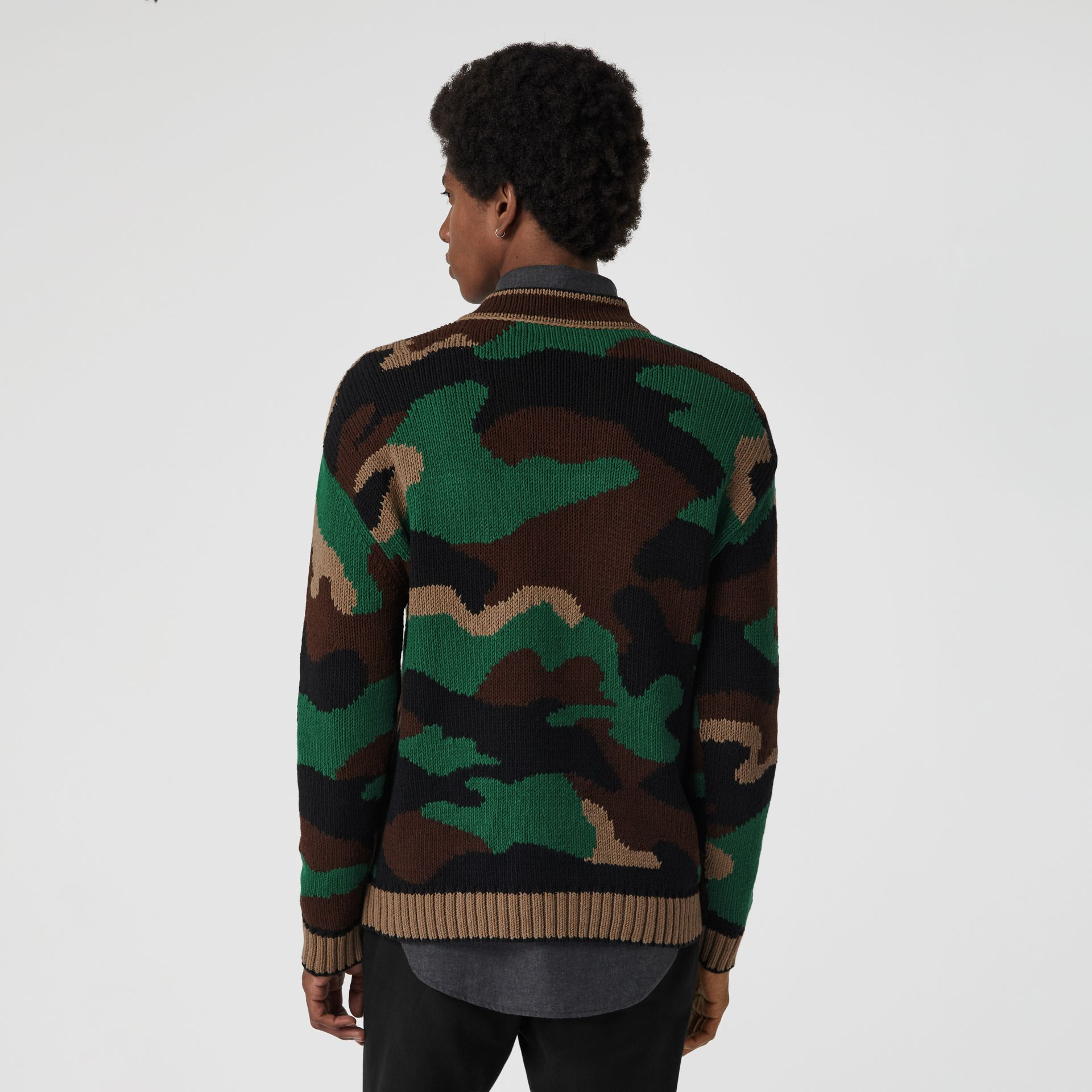 Camouflage Intarsia Cotton Blend Sweater in Forest Green - Men | Burberry United Kingdom - gallery image 2