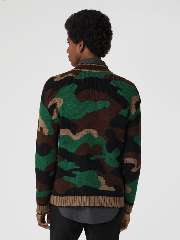 Camouflage Intarsia Cotton Blend Sweater in Forest Green - Men | Burberry - cell image 2