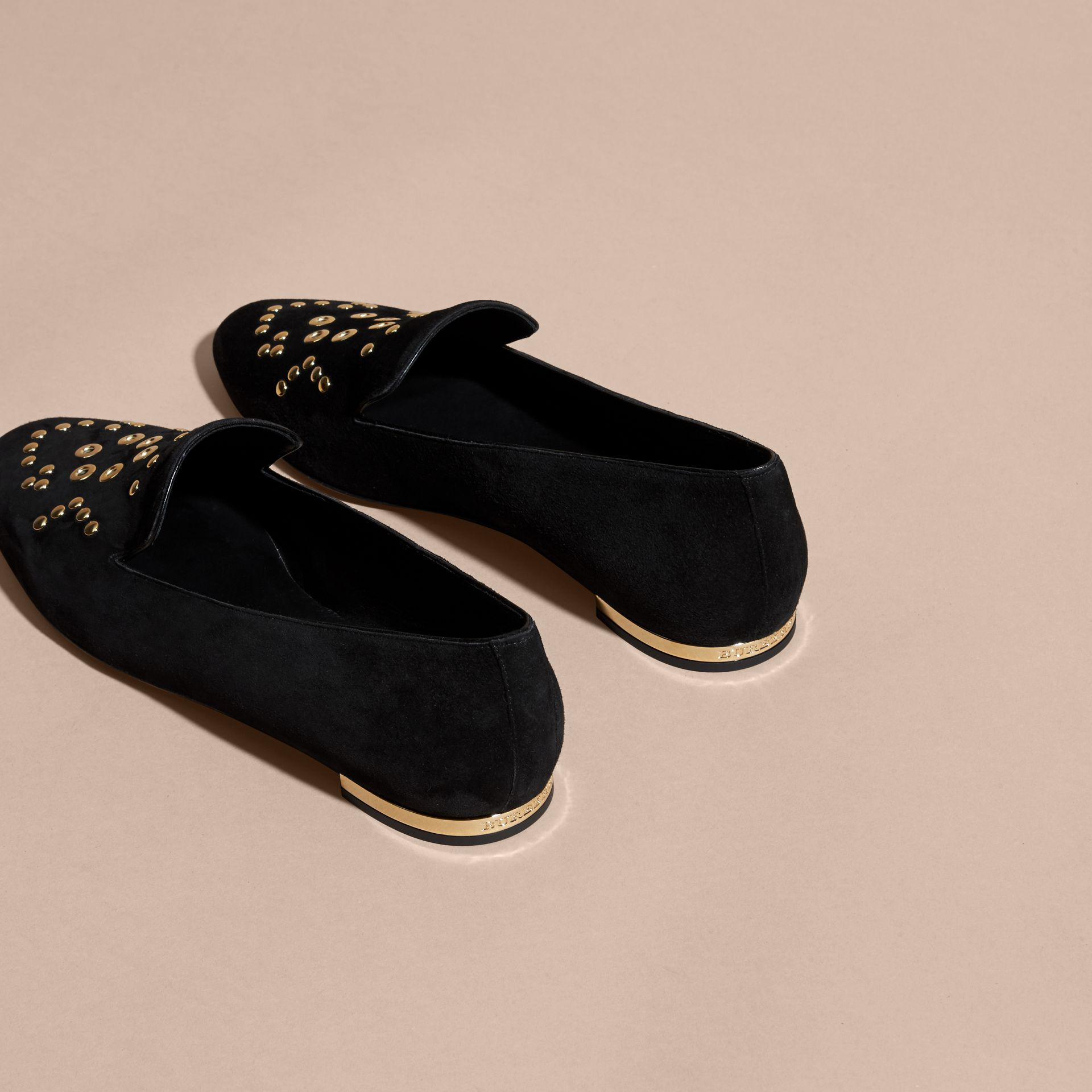 Black Rivet and Eyelet Detail Suede Loafers - gallery image 4