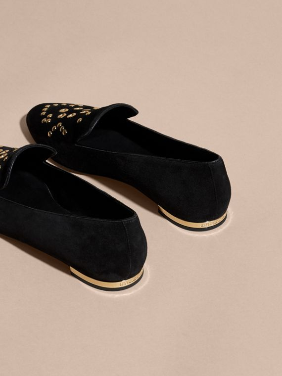Black Rivet and Eyelet Detail Suede Loafers - cell image 3