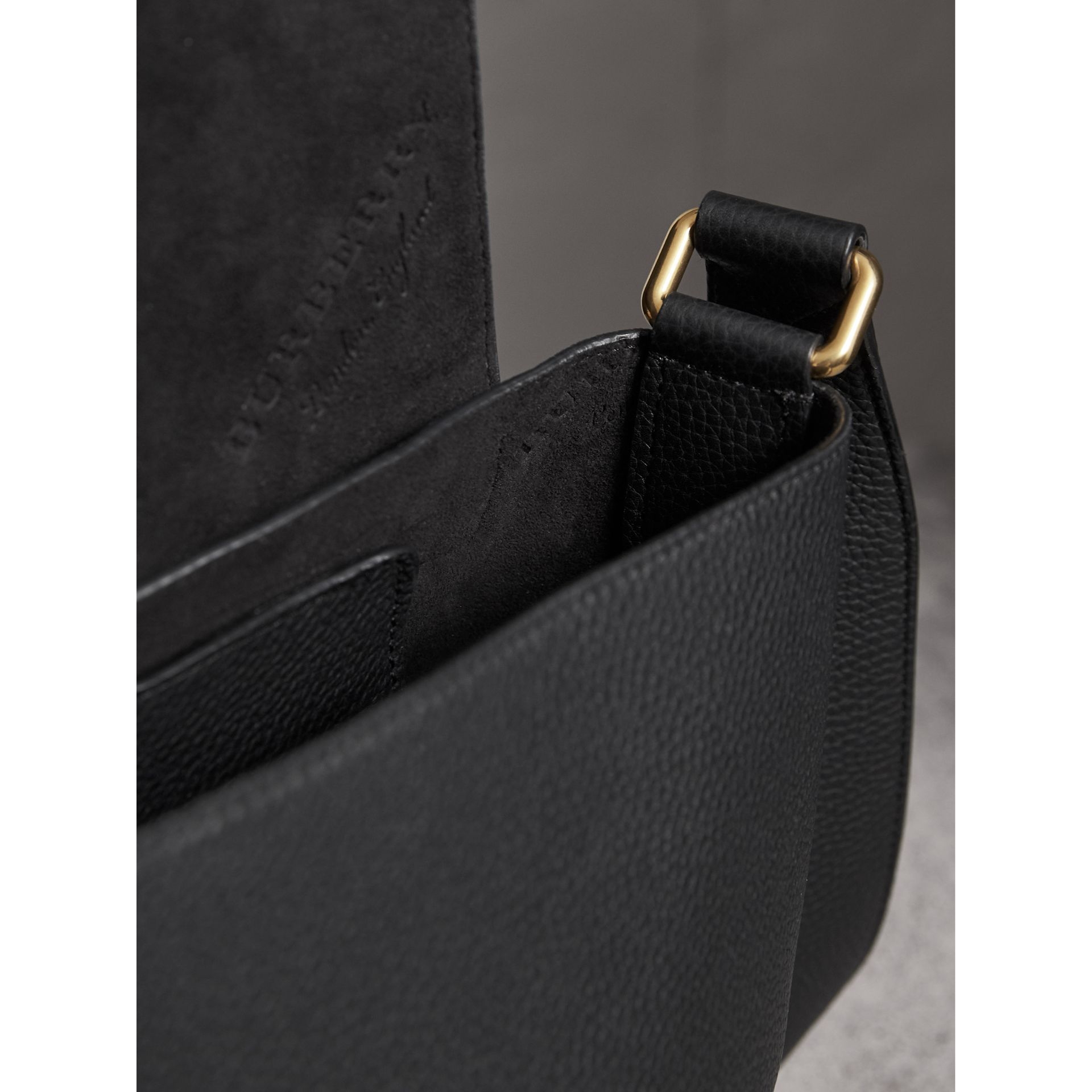 Large Embossed Leather Messenger Bag in Black | Burberry Australia - gallery image 4