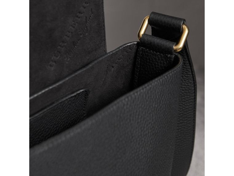 Large Embossed Leather Messenger Bag in Black | Burberry United States - cell image 4