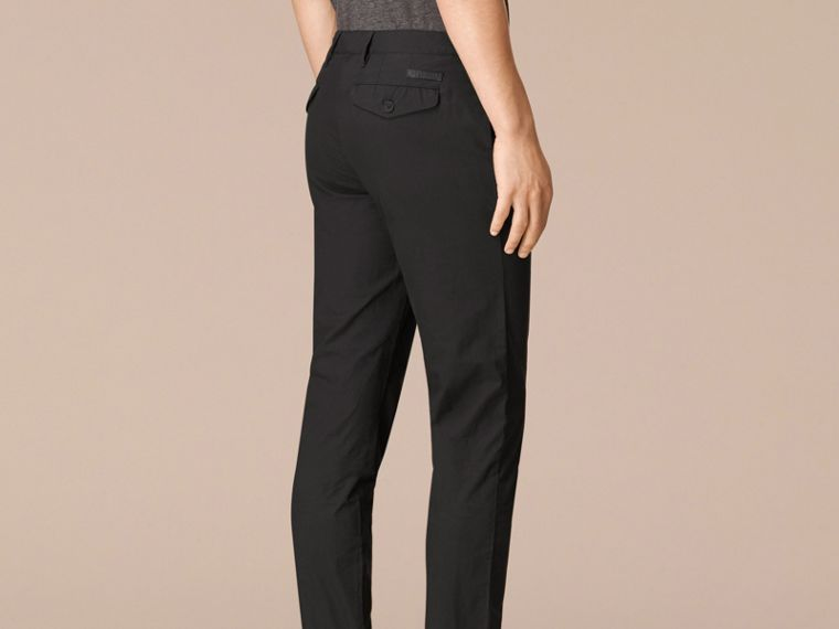 Slim Fit Cotton Poplin Chinos in Black - Men | Burberry United States - cell image 1