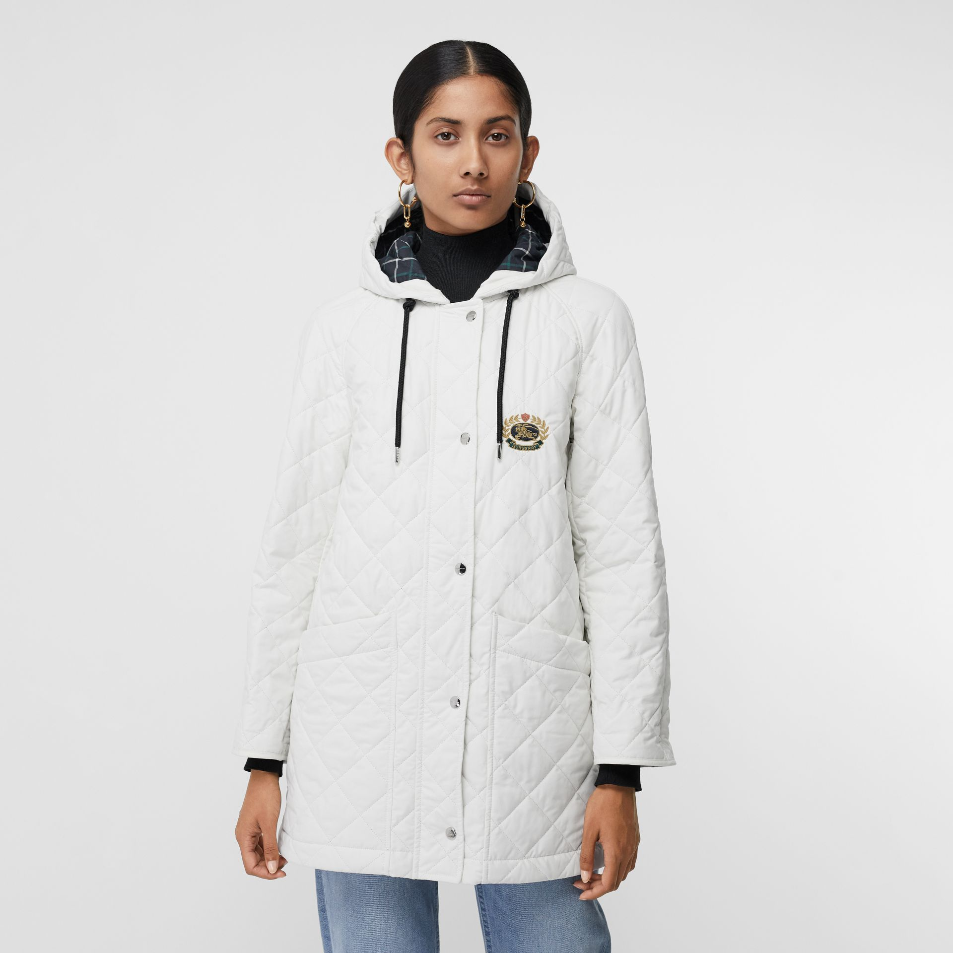 Lightweight Diamond Quilted Hooded Parka in Ash White - Women | Burberry - gallery image 4